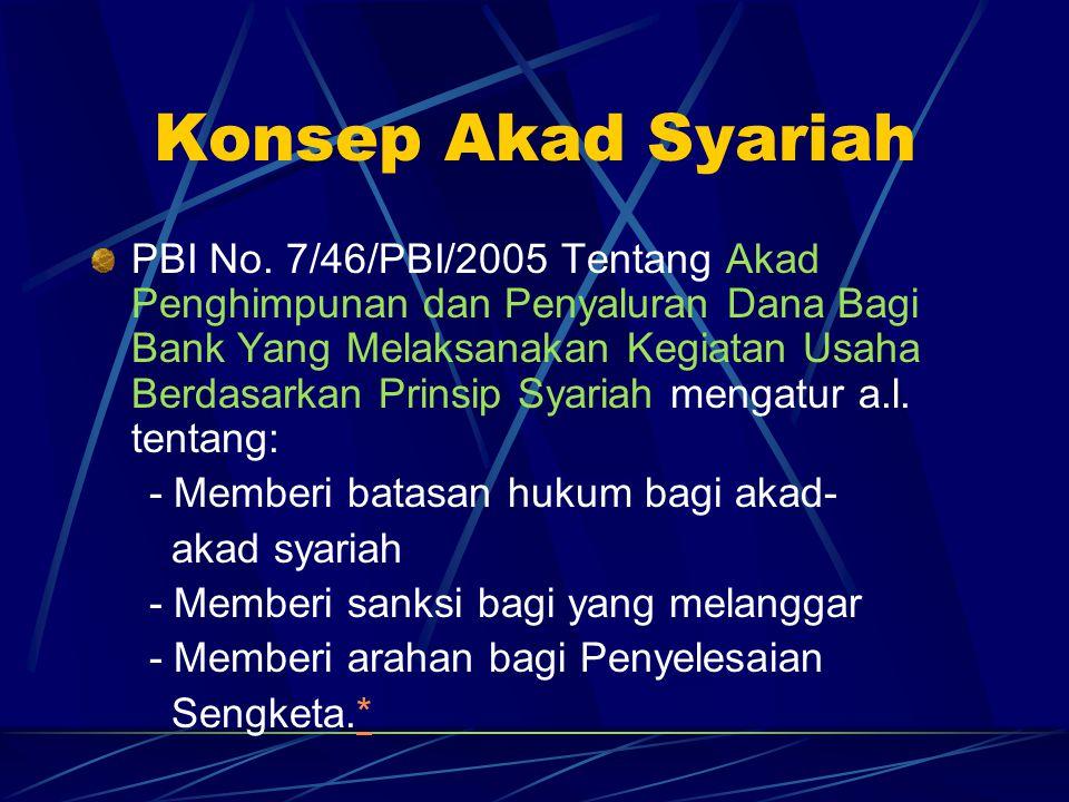Konsep Akad Syariah PBI No. 7/46/PBI/2005 Tentang Akad Penghimpunan dan Penyaluran Dana Bagi Bank Yang Melaksanakan Kegiatan Usaha Berdasarkan Prinsip