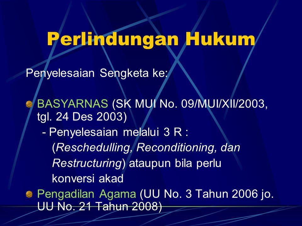 Perlindungan Hukum Penyelesaian Sengketa ke: BASYARNAS (SK MUI No. 09/MUI/XII/2003, tgl. 24 Des 2003) - Penyelesaian melalui 3 R : (Reschedulling, Rec