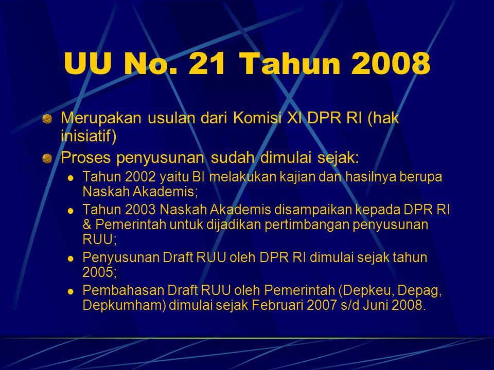 UU No. 21 Tahun 2008 Merupakan usulan dari Komisi XI DPR RI (hak inisiatif) Proses penyusunan sudah dimulai sejak: Tahun 2002 yaitu BI melakukan kajia