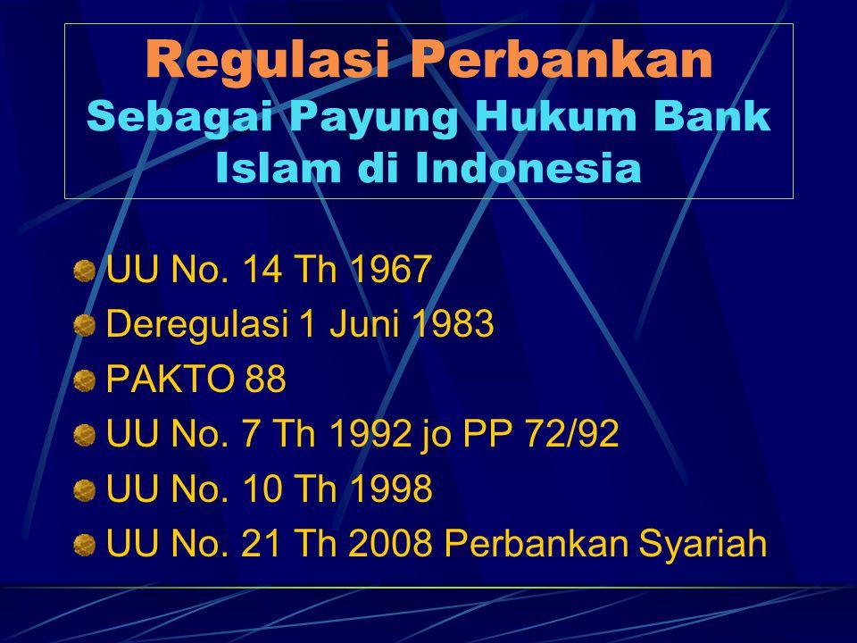 Regulasi Perbankan Sebagai Payung Hukum Bank Islam di Indonesia UU No. 14 Th 1967 Deregulasi 1 Juni 1983 PAKTO 88 UU No. 7 Th 1992 jo PP 72/92 UU No.