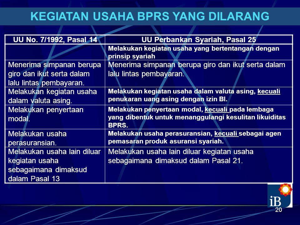 20 KEGIATAN USAHA BPRS YANG DILARANG UU No. 7/1992, Pasal 14UU Perbankan Syariah, Pasal 25 Melakukan kegiatan usaha yang bertentangan dengan prinsip s