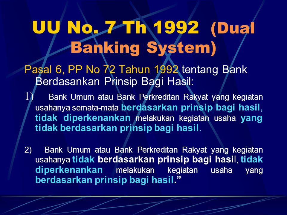UU No. 7 Th 1992 (Dual Banking System) Pasal 6, PP No 72 Tahun 1992 tentang Bank Berdasankan Prinsip Bagi Hasil: 1) Bank Umum atau Bank Perkreditan Ra
