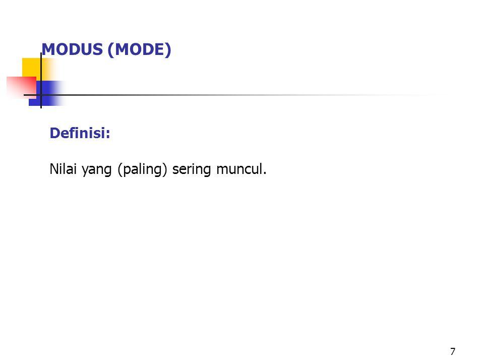 7 MODUS (MODE) Definisi: Nilai yang (paling) sering muncul.