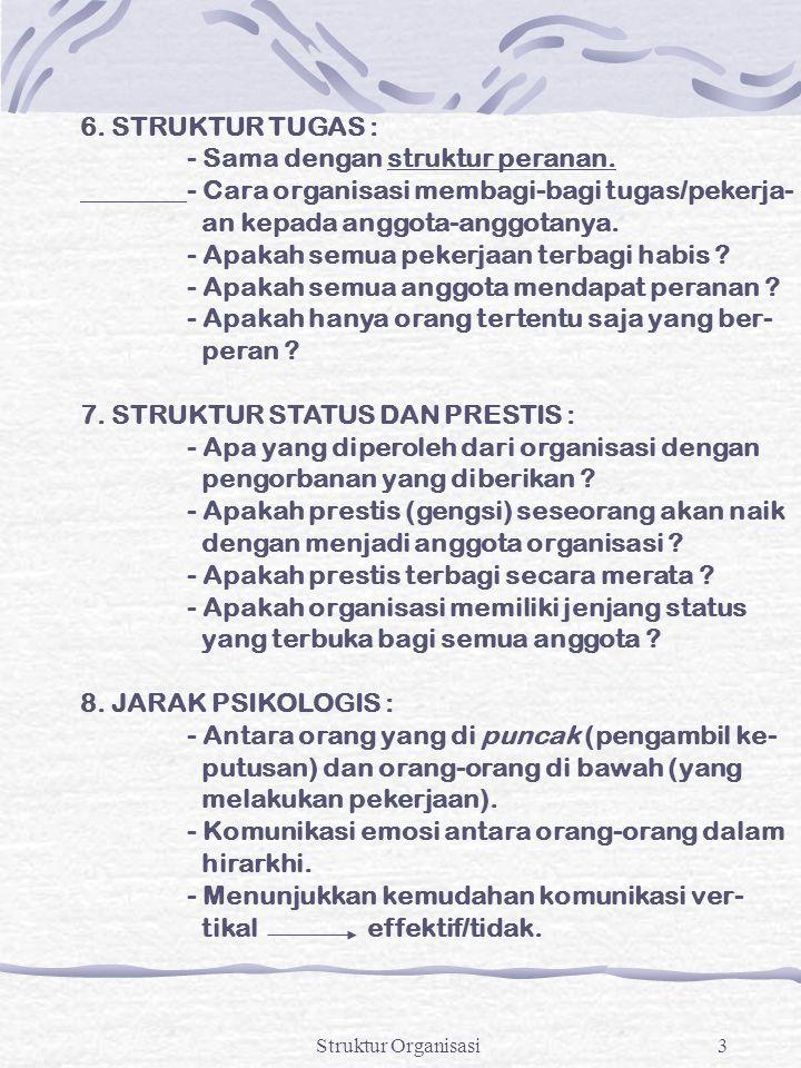 Struktur Organisasi3 6. STRUKTUR TUGAS : - Sama dengan struktur peranan. - Cara organisasi membagi-bagi tugas/pekerja- an kepada anggota-anggotanya. -