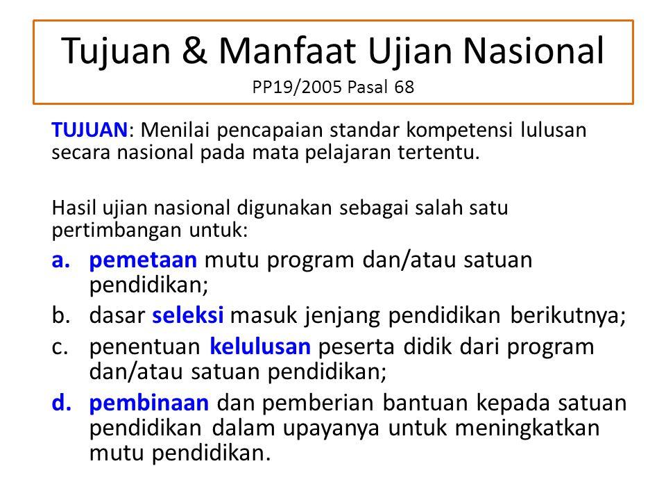 Tujuan & Manfaat Ujian Nasional PP19/2005 Pasal 68 TUJUAN: Menilai pencapaian standar kompetensi lulusan secara nasional pada mata pelajaran tertentu.