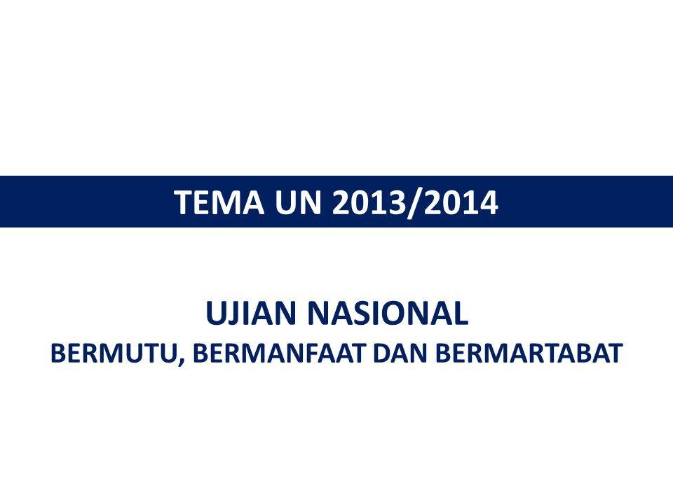 UJIAN NASIONAL BERMUTU, BERMANFAAT DAN BERMARTABAT TEMA UN 2013/2014