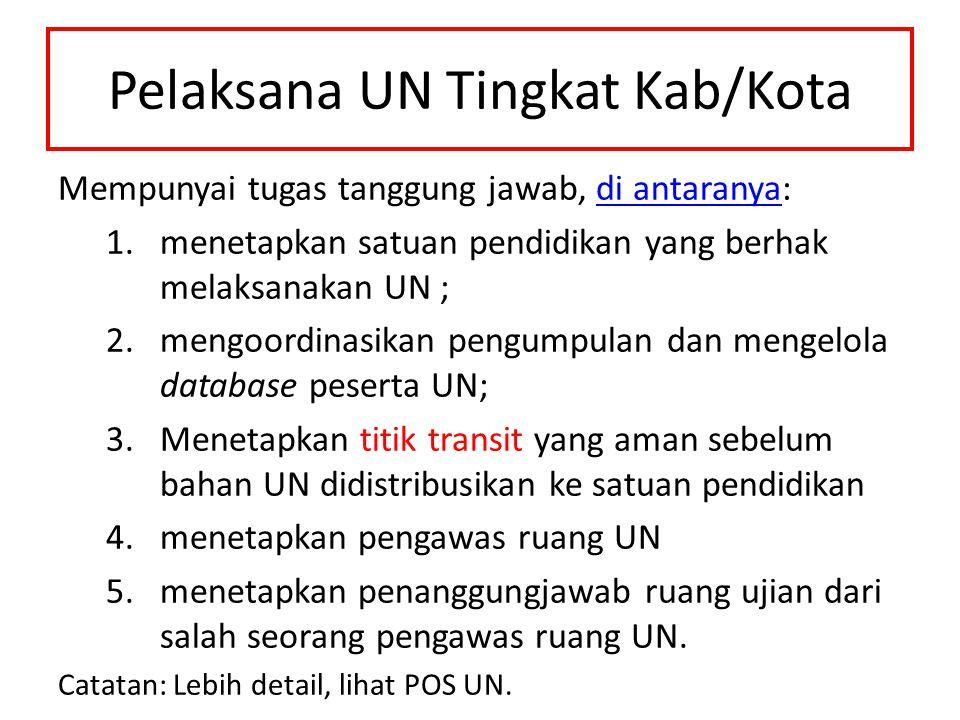 Pelaksana UN Tingkat Kab/Kota Mempunyai tugas tanggung jawab, di antaranya: 1.menetapkan satuan pendidikan yang berhak melaksanakan UN ; 2.mengoordina