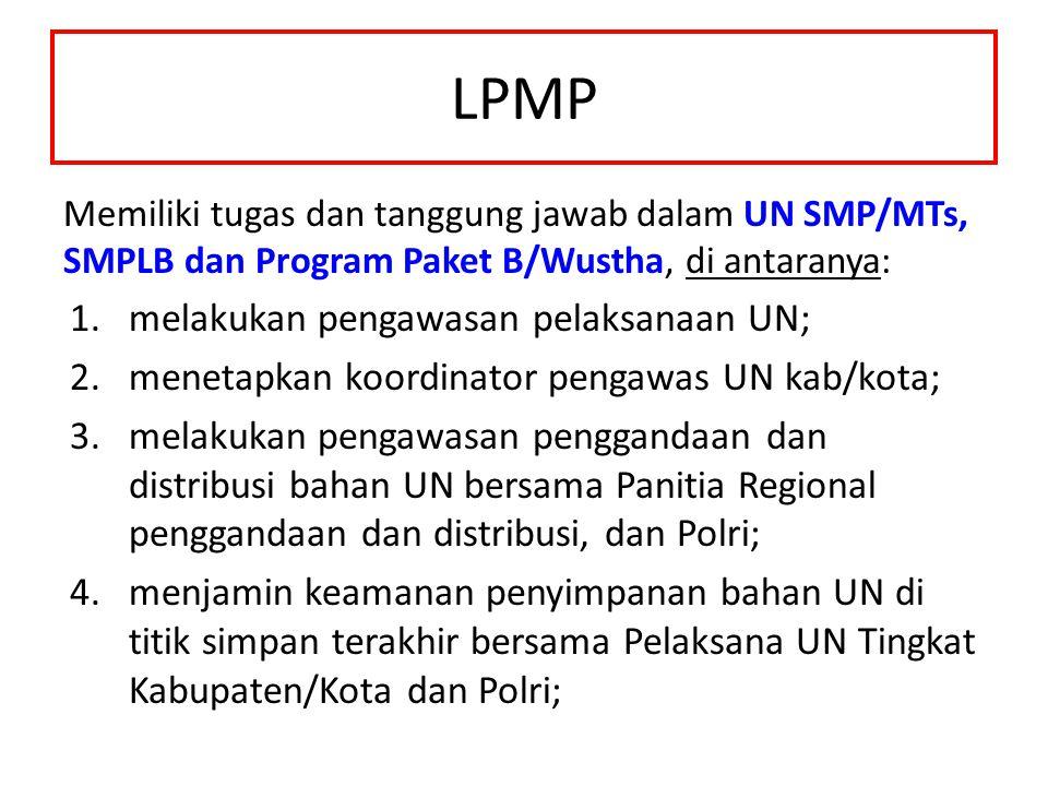 LPMP Memiliki tugas dan tanggung jawab dalam UN SMP/MTs, SMPLB dan Program Paket B/Wustha, di antaranya: 1.melakukan pengawasan pelaksanaan UN; 2.mene