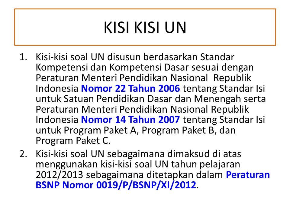KISI KISI UN 1.Kisi-kisi soal UN disusun berdasarkan Standar Kompetensi dan Kompetensi Dasar sesuai dengan Peraturan Menteri Pendidikan Nasional Repub