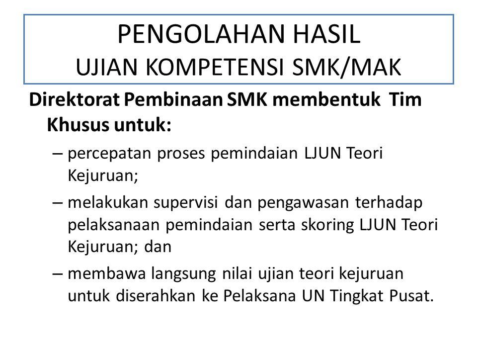 PENGOLAHAN HASIL UJIAN KOMPETENSI SMK/MAK Direktorat Pembinaan SMK membentuk Tim Khusus untuk: – percepatan proses pemindaian LJUN Teori Kejuruan; – m