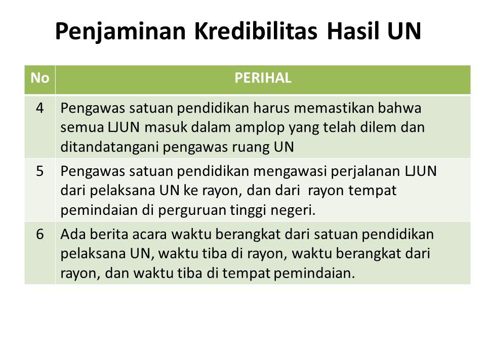 Penjaminan Kredibilitas Hasil UN NoPERIHAL 4Pengawas satuan pendidikan harus memastikan bahwa semua LJUN masuk dalam amplop yang telah dilem dan ditan