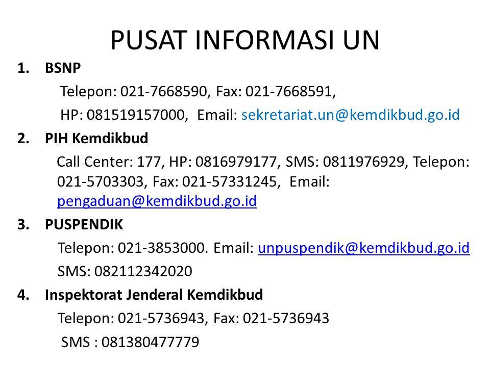 PUSAT INFORMASI UN 1.BSNP Telepon: 021-7668590, Fax: 021-7668591, HP: 081519157000, Email: sekretariat.un@kemdikbud.go.id 2.PIH Kemdikbud Call Center: