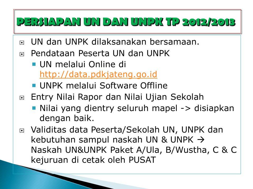  UN dan UNPK dilaksanakan bersamaan.