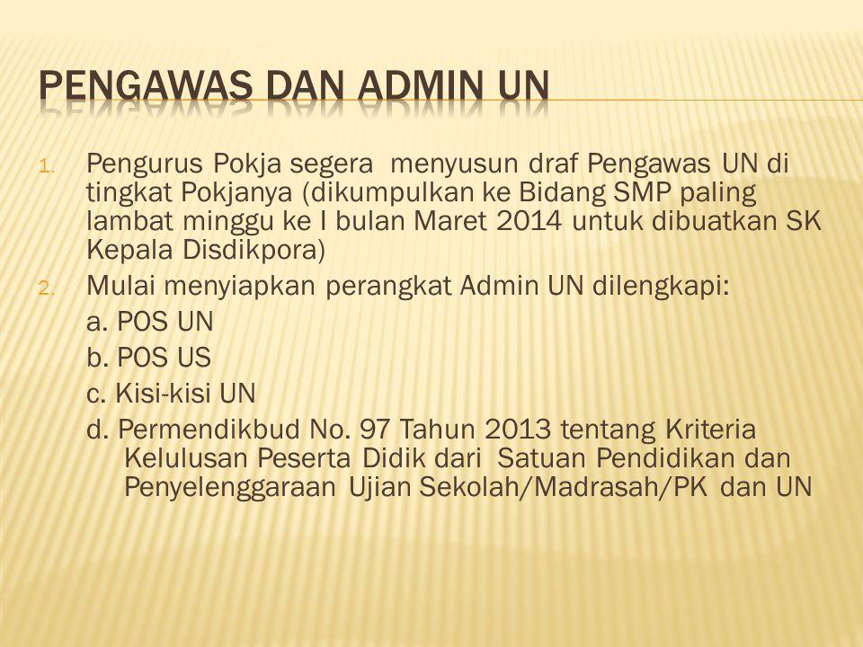 1. Pengurus Pokja segera menyusun draf Pengawas UN di tingkat Pokjanya (dikumpulkan ke Bidang SMP paling lambat minggu ke I bulan Maret 2014 untuk dib