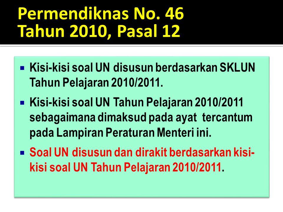 Permendiknas No. 46 Tahun 2010, Pasal 12