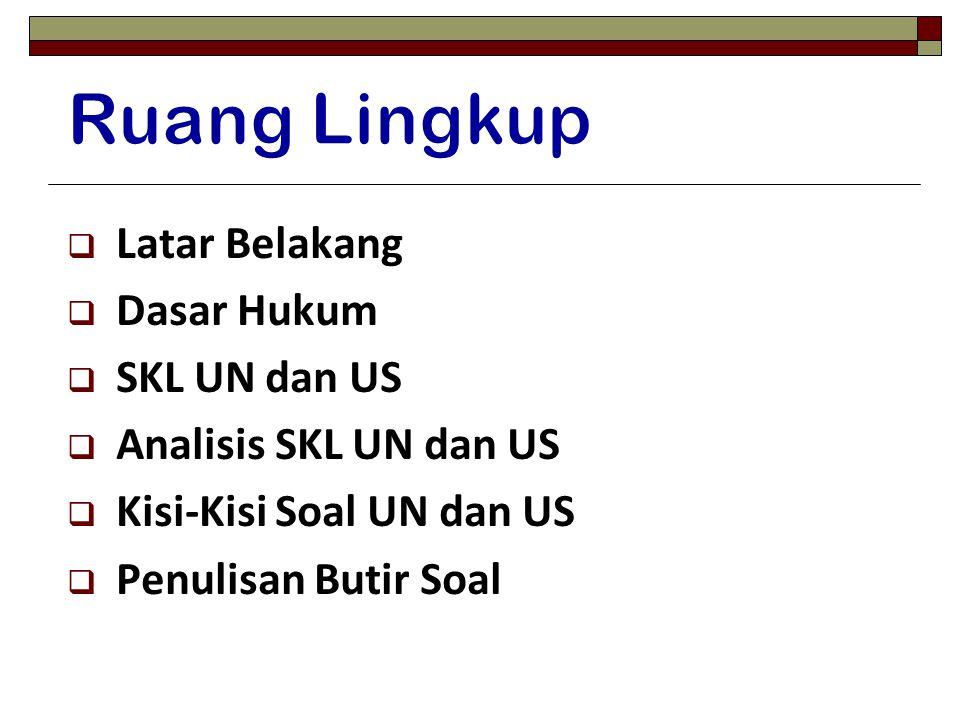  Latar Belakang  Dasar Hukum  SKL UN dan US  Analisis SKL UN dan US  Kisi-Kisi Soal UN dan US  Penulisan Butir Soal