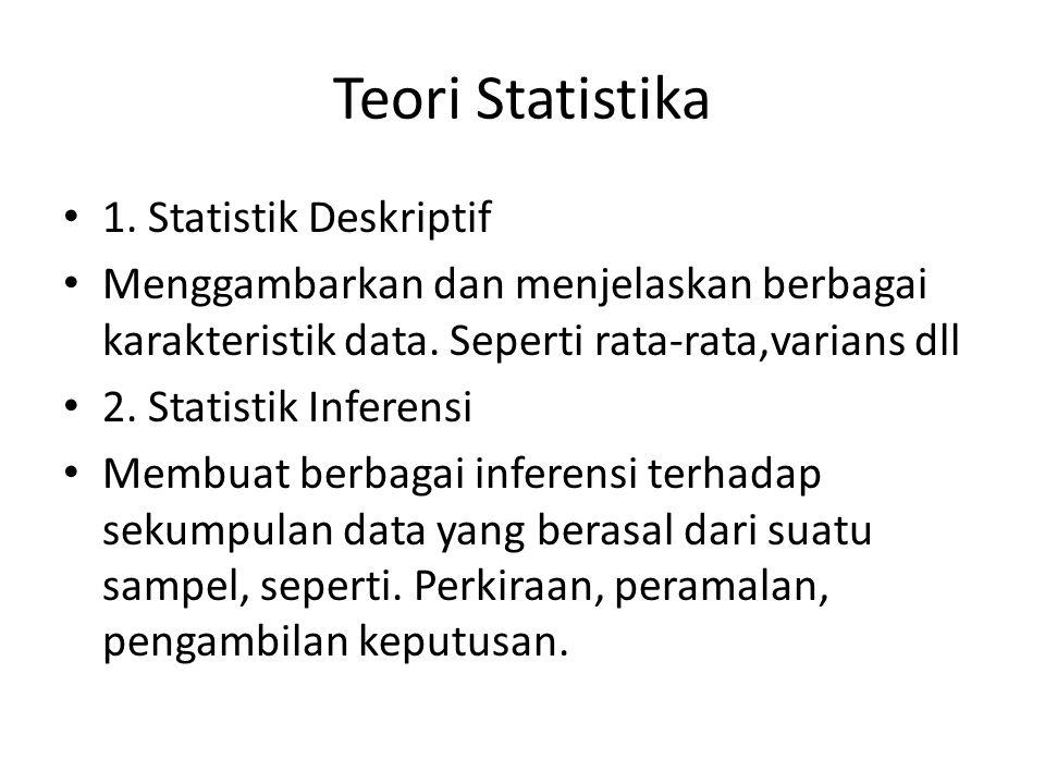Teori Statistika 1. Statistik Deskriptif Menggambarkan dan menjelaskan berbagai karakteristik data. Seperti rata-rata,varians dll 2. Statistik Inferen