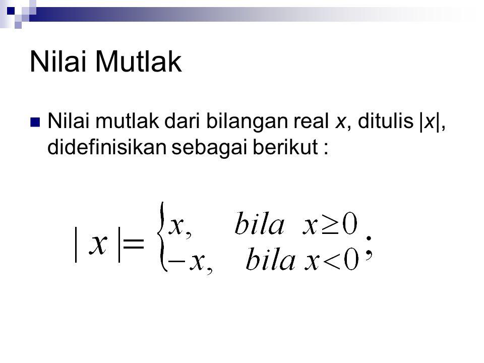 Nilai Mutlak Nilai mutlak dari bilangan real x, ditulis |x|, didefinisikan sebagai berikut :