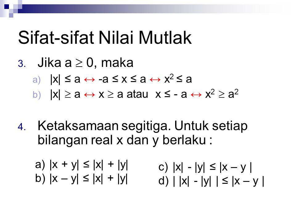 Sifat-sifat Nilai Mutlak 3. Jika a  0, maka a) |x| ≤ a ↔ -a ≤ x ≤ a ↔ x 2 ≤ a b) |x|  a ↔ x  a atau x ≤ - a ↔ x 2  a 2 4. Ketaksamaan segitiga. Un