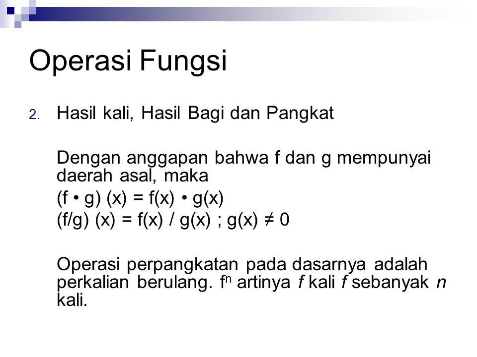 Operasi Fungsi 2. Hasil kali, Hasil Bagi dan Pangkat Dengan anggapan bahwa f dan g mempunyai daerah asal, maka (f g) (x) = f(x) g(x) (f/g) (x) = f(x)