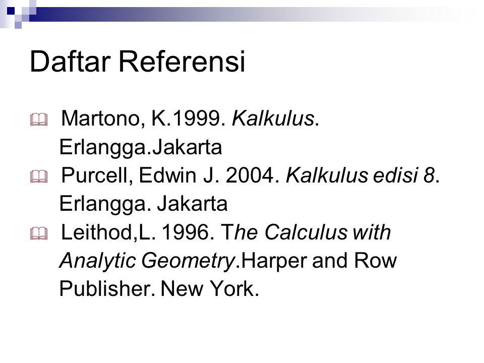 Daftar Referensi  Martono, K.1999. Kalkulus. Erlangga.Jakarta  Purcell, Edwin J. 2004. Kalkulus edisi 8. Erlangga. Jakarta  Leithod,L. 1996. The Ca