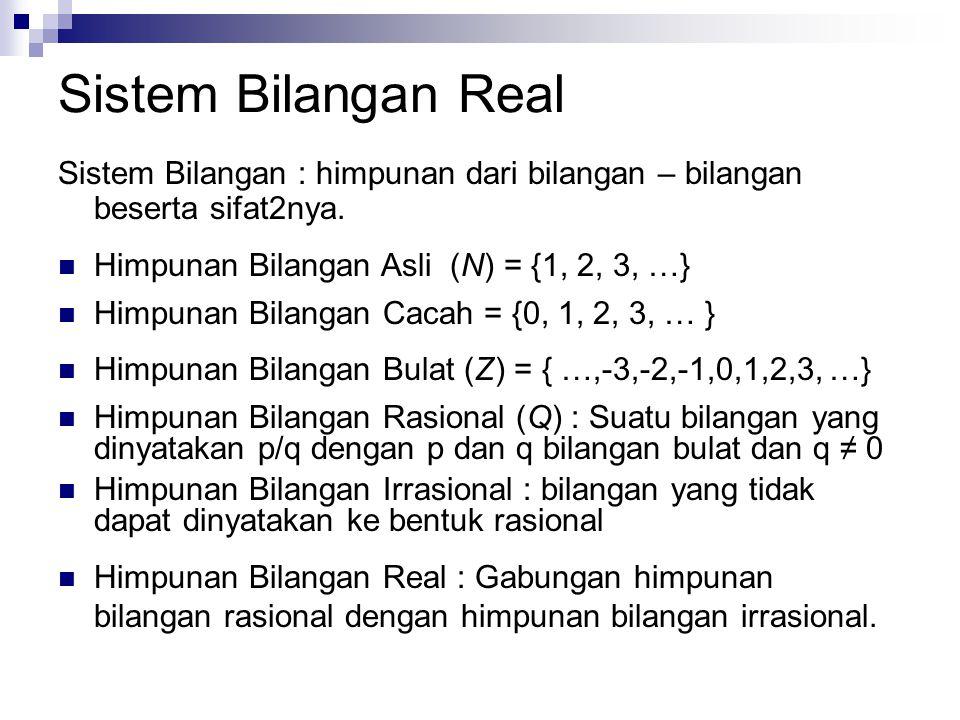 Sistem Bilangan Real Sistem Bilangan : himpunan dari bilangan – bilangan beserta sifat2nya. Himpunan Bilangan Asli (N) = {1, 2, 3, …} Himpunan Bilanga