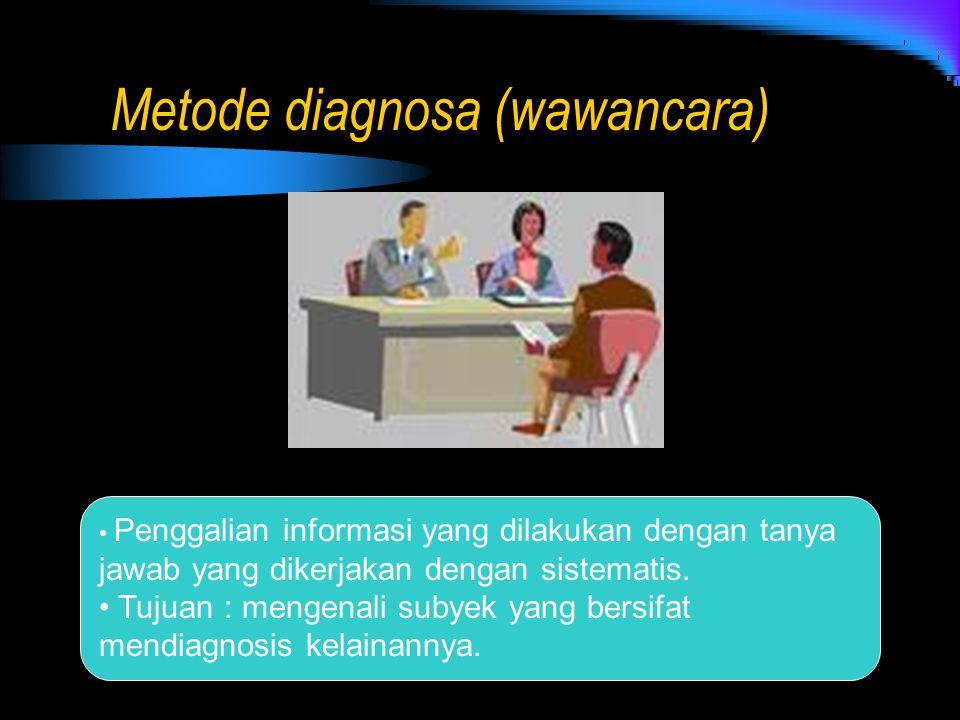Metode diagnosa (wawancara) Penggalian informasi yang dilakukan dengan tanya jawab yang dikerjakan dengan sistematis. Tujuan : mengenali subyek yang b