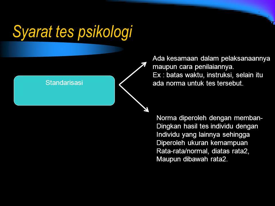 Syarat tes psikologi Standarisasi Ada kesamaan dalam pelaksanaannya maupun cara penilaiannya. Ex : batas waktu, instruksi, selain itu ada norma untuk
