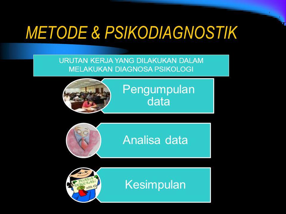METODE & PSIKODIAGNOSTIK URUTAN KERJA YANG DILAKUKAN DALAM MELAKUKAN DIAGNOSA PSIKOLOGI Pengumpulan data Analisa data Kesimpulan