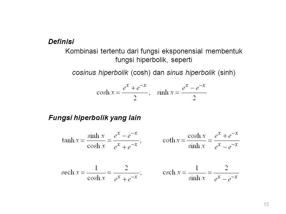 Definisi Kombinasi tertentu dari fungsi eksponensial membentuk fungsi hiperbolik, seperti cosinus hiperbolik (cosh) dan sinus hiperbolik (sinh) Fungsi