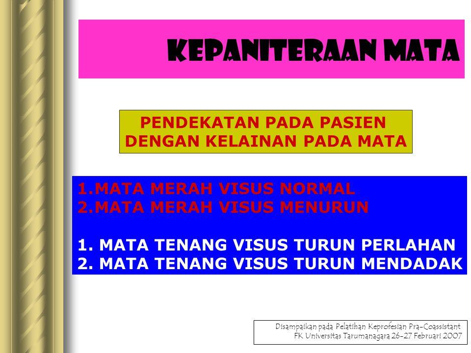 Kepaniteraan Mata PENDEKATAN PADA PASIEN DENGAN KELAINAN PADA MATA 1.MATA MERAH VISUS NORMAL 2.MATA MERAH VISUS MENURUN 1.