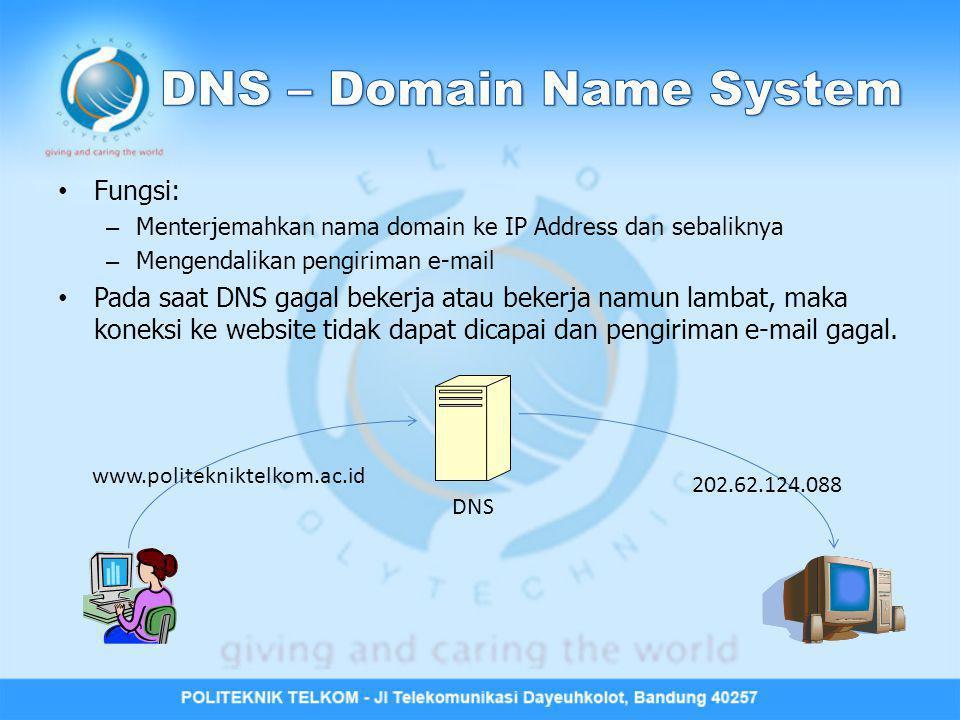Fungsi: – Menterjemahkan nama domain ke IP Address dan sebaliknya – Mengendalikan pengiriman e-mail Pada saat DNS gagal bekerja atau bekerja namun lam
