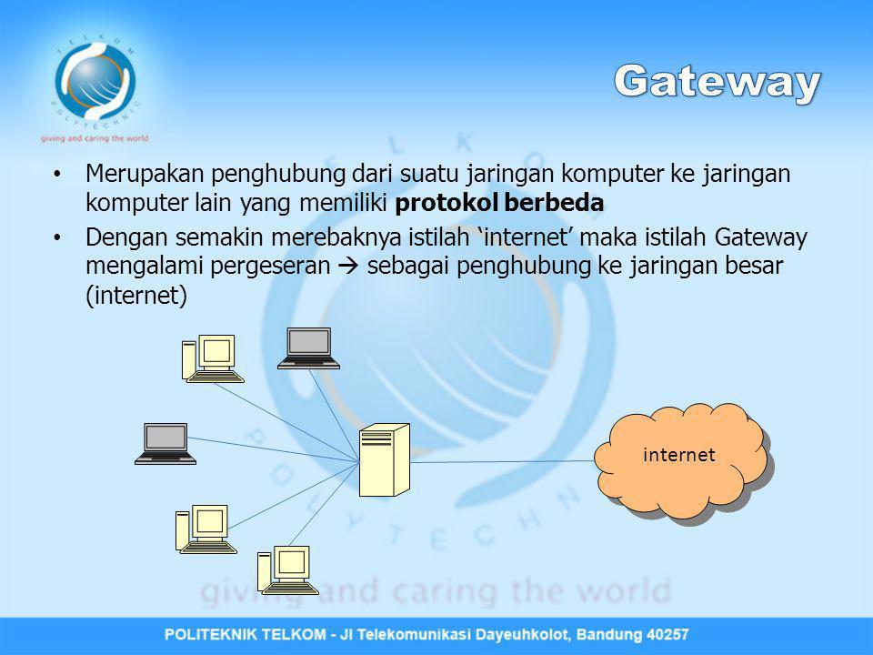 Merupakan penghubung dari suatu jaringan komputer ke jaringan komputer lain yang memiliki protokol berbeda Dengan semakin merebaknya istilah 'internet