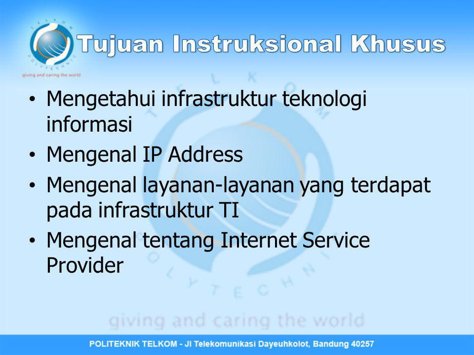 Mengetahui infrastruktur teknologi informasi Mengenal IP Address Mengenal layanan-layanan yang terdapat pada infrastruktur TI Mengenal tentang Interne
