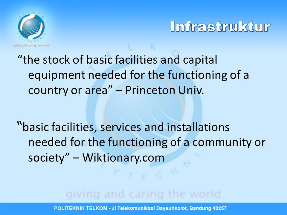 the stock of basic facilities and capital equipment needed for the functioning of a country or area – Princeton Univ.
