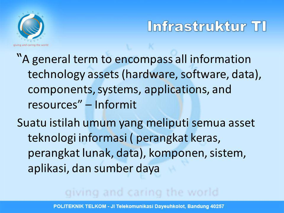 """ A general term to encompass all information technology assets (hardware, software, data), components, systems, applications, and resources"" – Inform"