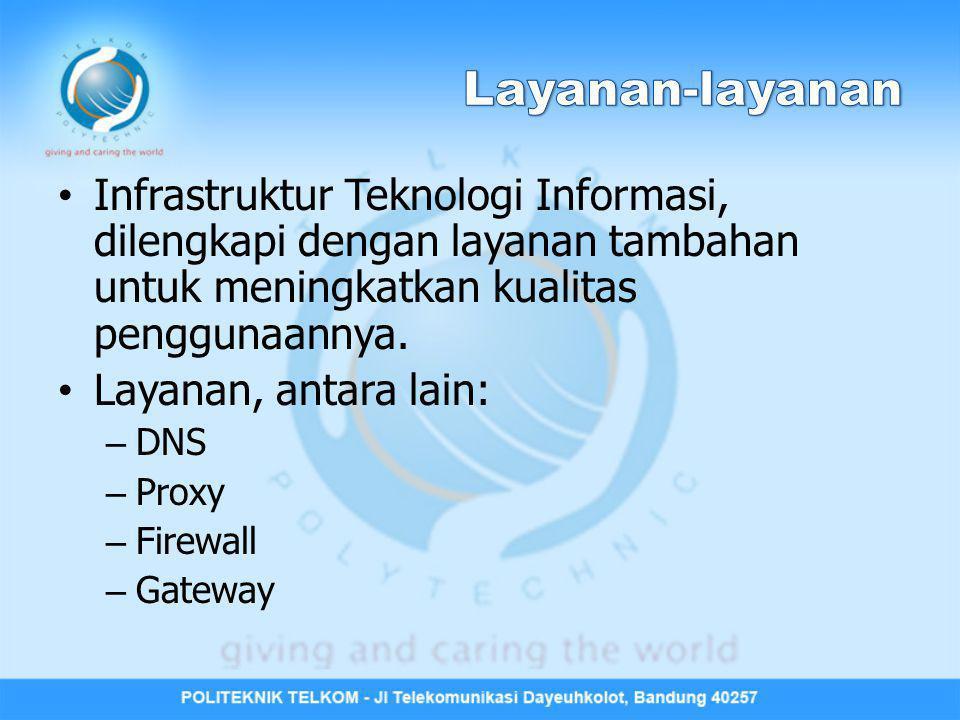 Infrastruktur Teknologi Informasi, dilengkapi dengan layanan tambahan untuk meningkatkan kualitas penggunaannya. Layanan, antara lain: – DNS – Proxy –