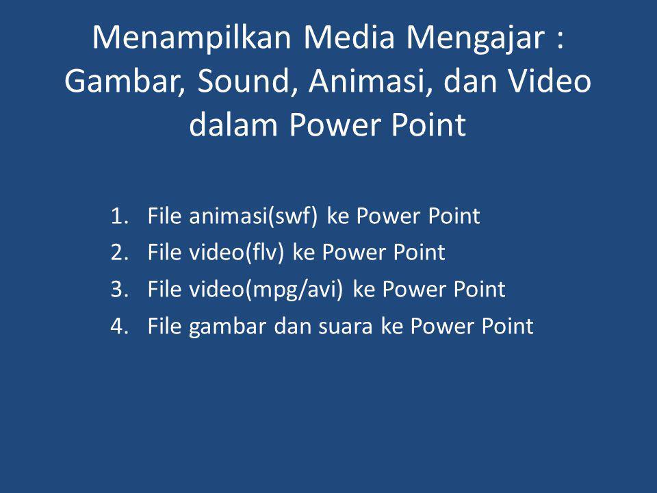 Menampilkan Media Mengajar : Gambar, Sound, Animasi, dan Video dalam Power Point 1.File animasi(swf) ke Power Point 2.File video(flv) ke Power Point 3