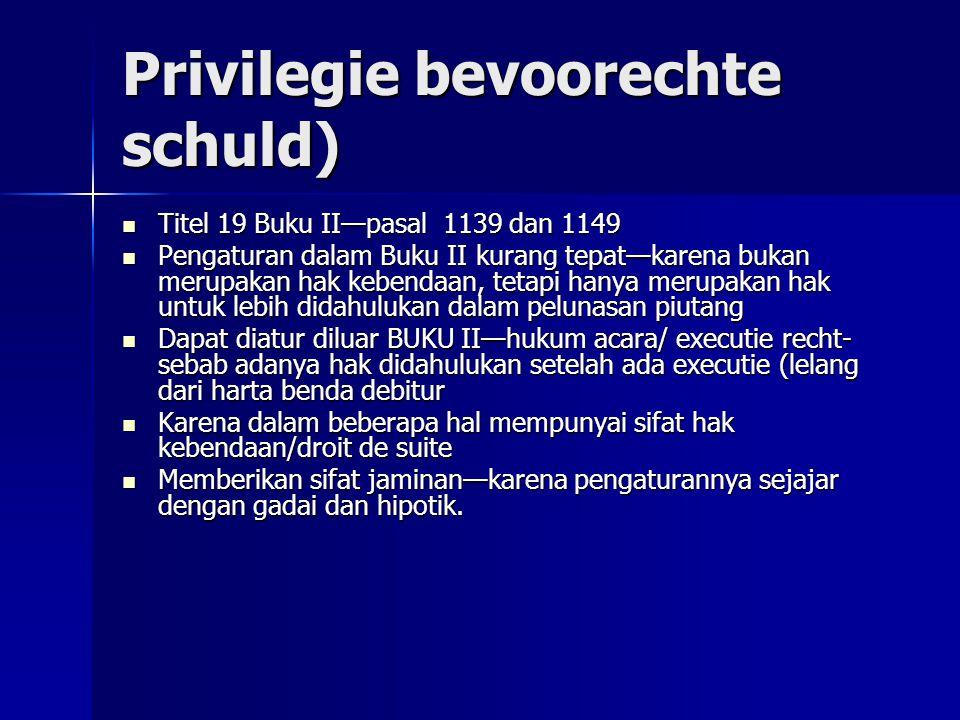 Privilegie bevoorechte schuld) Titel 19 Buku II—pasal 1139 dan 1149 Titel 19 Buku II—pasal 1139 dan 1149 Pengaturan dalam Buku II kurang tepat—karena