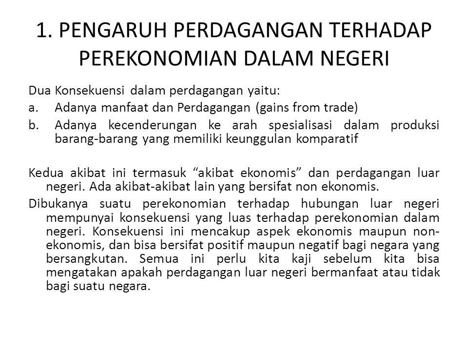 1. PENGARUH PERDAGANGAN TERHADAP PEREKONOMIAN DALAM NEGERI Dua Konsekuensi dalam perdagangan yaitu: a.Adanya manfaat dan Perdagangan (gains from trade