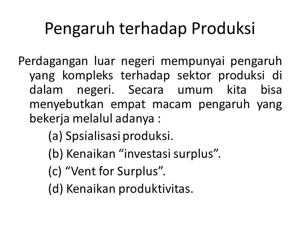 Pengaruh terhadap Produksi Perdagangan luar negeri mempunyai pengaruh yang kompleks terhadap sektor produksi di dalam negeri. Secara umum kita bisa me