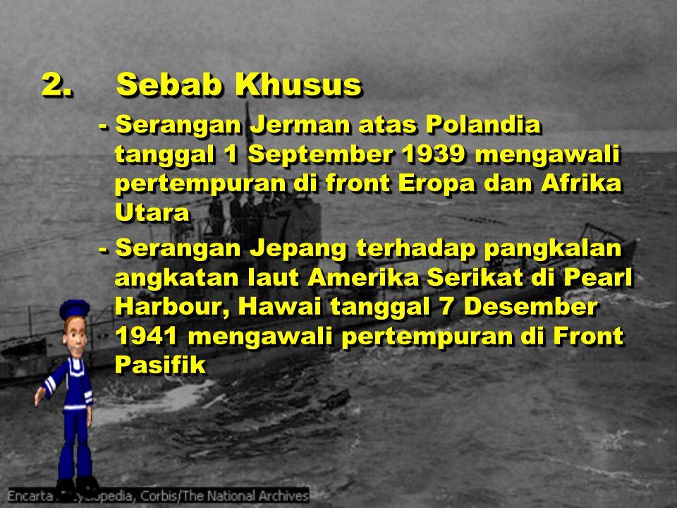 Tahun 1942 a)15 Februari, Singapura jatuh ke tangan Jepang b)26 – 28 Februari, armada laut Jepang mengalahkan kekuatan laut Sekutu dalam Pertempuran Laut Jawa c)9 April, pasukan AS dan Filipina menyerah di semenanjung Bataan d)18 April, armada udara AS membom Tokyo dalam Serangan Doolitle e)4 – 8 Mei, armada laut Sekutu membendung serangan Jepang dalam Pertempuran Terumbu Karang Tahun 1942 a)15 Februari, Singapura jatuh ke tangan Jepang b)26 – 28 Februari, armada laut Jepang mengalahkan kekuatan laut Sekutu dalam Pertempuran Laut Jawa c)9 April, pasukan AS dan Filipina menyerah di semenanjung Bataan d)18 April, armada udara AS membom Tokyo dalam Serangan Doolitle e)4 – 8 Mei, armada laut Sekutu membendung serangan Jepang dalam Pertempuran Terumbu Karang