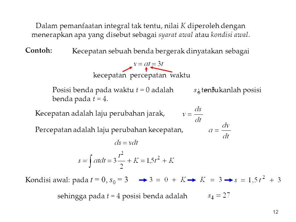 Dalam pemanfaatan integral tak tentu, nilai K diperoleh dengan menerapkan apa yang disebut sebagai syarat awal atau kondisi awal.