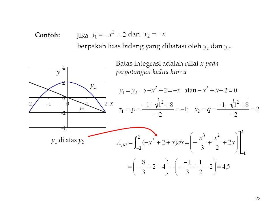 Jika dan berpakah luas bidang yang dibatasi oleh y 1 dan y 2.