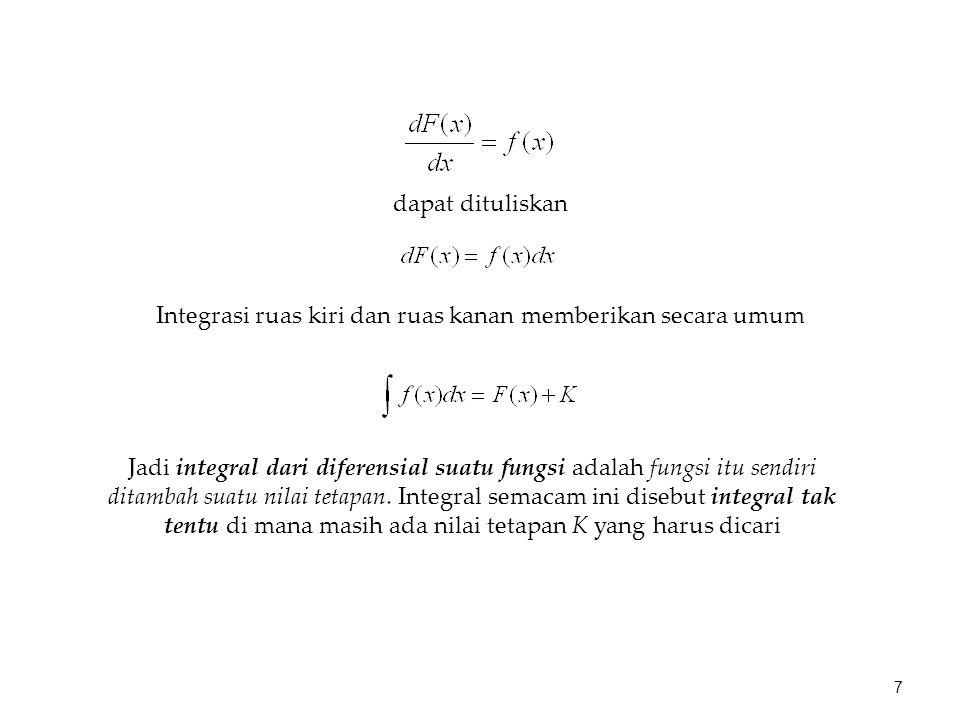 Cari solusi persamaan diferensial ubah ke dalam bentuk diferensial Kita tahu bahwa Contoh: oleh karena itu 8