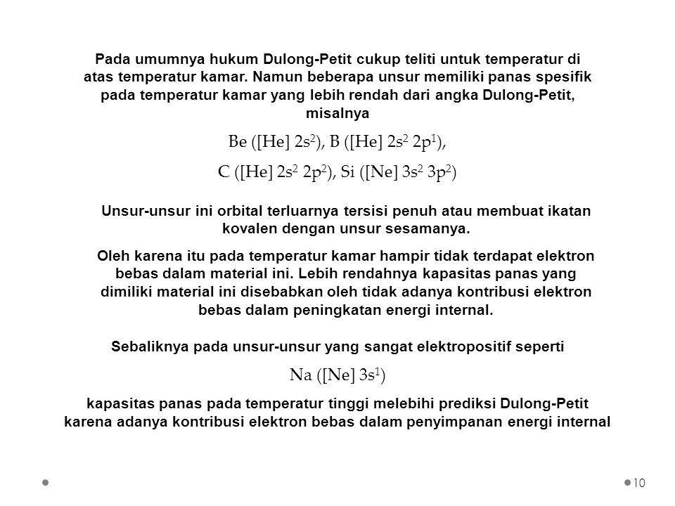 Pada umumnya hukum Dulong-Petit cukup teliti untuk temperatur di atas temperatur kamar. Namun beberapa unsur memiliki panas spesifik pada temperatur k