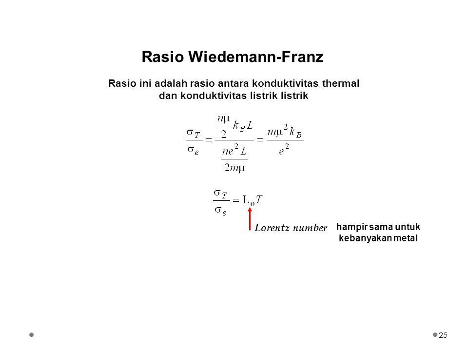Rasio Wiedemann-Franz Rasio ini adalah rasio antara konduktivitas thermal dan konduktivitas listrik listrik Lorentz number hampir sama untuk kebanyaka