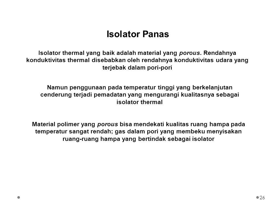 Isolator thermal yang baik adalah material yang porous. Rendahnya konduktivitas thermal disebabkan oleh rendahnya konduktivitas udara yang terjebak da