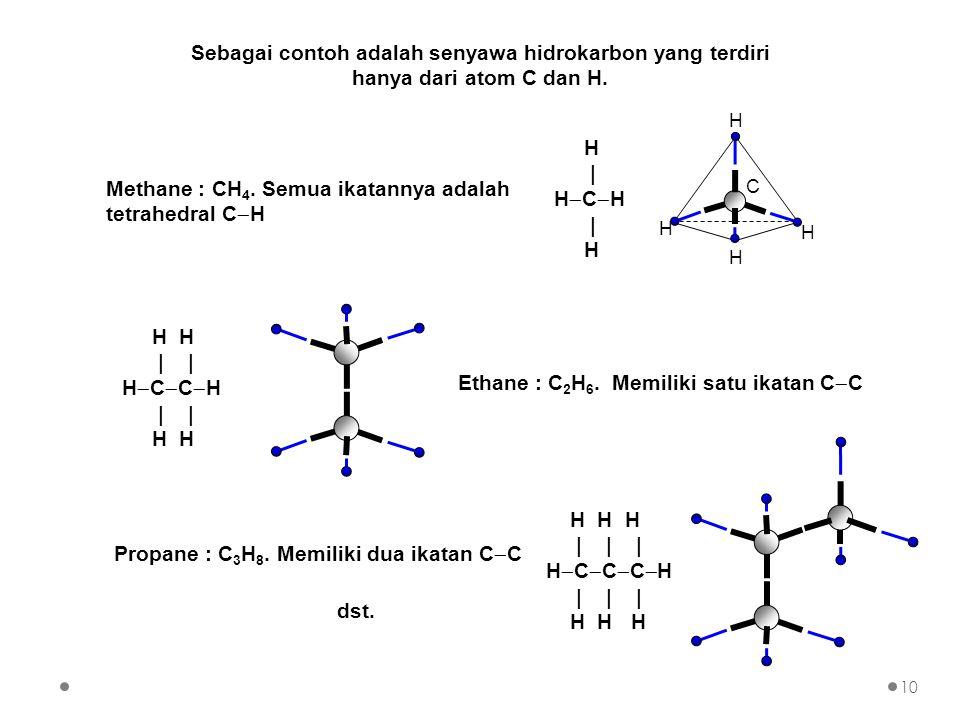 Sebagai contoh adalah senyawa hidrokarbon yang terdiri hanya dari atom C dan H.
