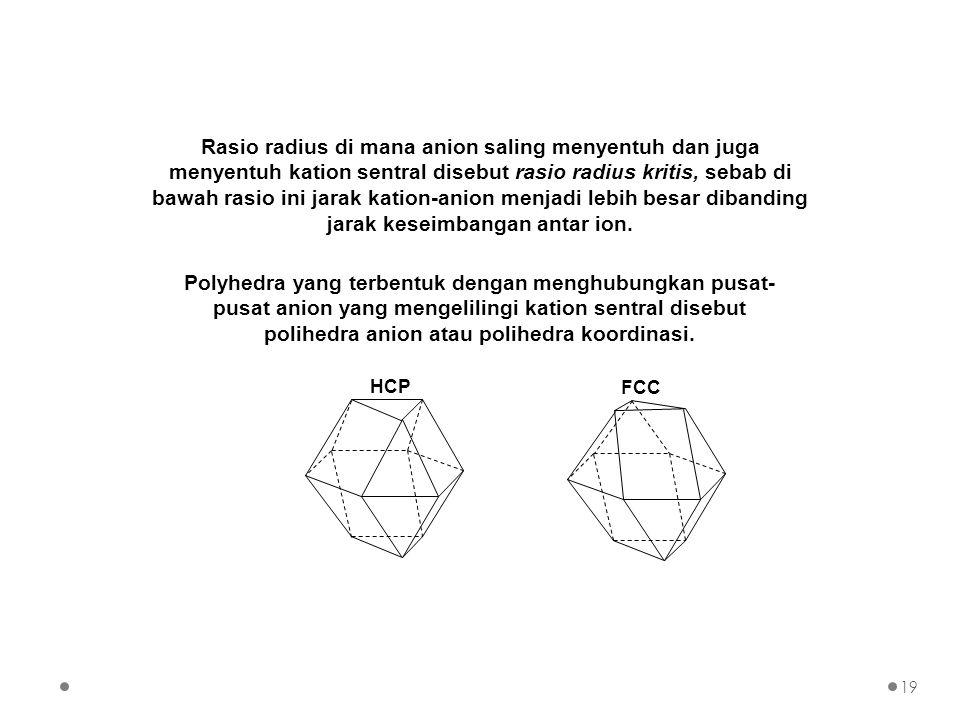 Rasio radius di mana anion saling menyentuh dan juga menyentuh kation sentral disebut rasio radius kritis, sebab di bawah rasio ini jarak kation-anion menjadi lebih besar dibanding jarak keseimbangan antar ion.